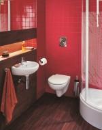 Łazienka w czerwieni.